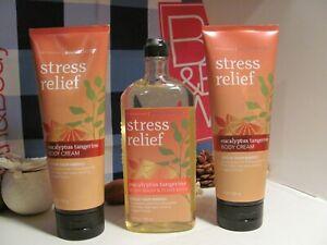 Bath and Body Works 3 Aromatherapy ~STRESS~ Eucalyptus Tangerine  Wash & Cream