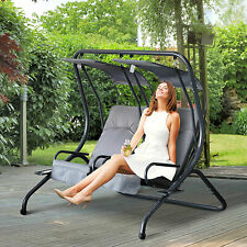 Outsunny 2-seat Steel Patio Swing ChairBench with Canopy Porch Deck Grey