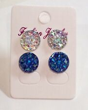 Small Round Sparkly Ab  & Blue Crystal Diamante Rhinestone Stud Earrings