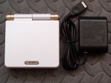 GameBoy Advance SP Handheld System AGS001 W/Glass Screen White+Light Gold