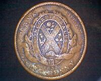 1837 CANADA PROVINCE DU BUS DUEX SOUS ONE PENNY TOKEN -WITH PERIOD #19031