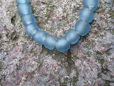"""Strang Altglasperlen Recycled Glass Beads Ghana Krobo 10 - 11 mm """"Ice Blue"""""""