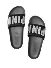 *NEW* Victoria's Secret PINK Bling Sequin Slides Medium 7/8 Black & Silver Logo