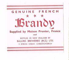 1940s New Zealand Ballins Brewery Maison Prunier FRENCH BRANDY Label
