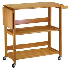 Rolling Kitchen Cart Island Wood Portable Table Folding Storage Bar Rack Shelf