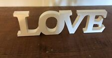 LOVE SIGN WHITE HAND CARVED THICK WOOD