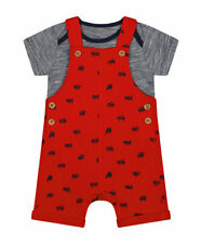 New MOTHERCARE Baby Boys Red Blue Trucks Diggers Dungarees Bodysuit Romper Set