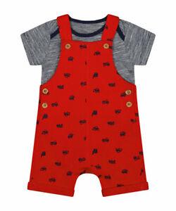 MOTHERCARE Baby Dungarees Boys Red Blue Trucks Summer Short Bodysuit Romper Set