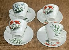 Whittard Fine Bone China Set 4 Floral Cups & Saucers.