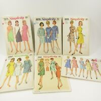 Vintage Simplicity Dress Pattern Lot CUT Complete Sizes 12 14 Bust 34