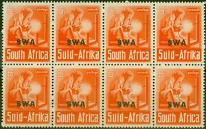 S.W.A 1941 6d Red-Orange SG119 V.F MNH Block of 8, 4 Pairs
