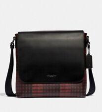 Coach * Men's Bag F40723 QBREM Charles Small Messenger Twill Plaid Print Red