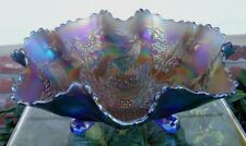 "FENTON""CARNIVAL GLASS""MINT+PERF~ANTIQUE~c1911""ELEC""BLUE""STAG&HOLLY""HUGE~11""BOWL"""