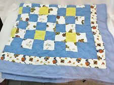 HANDCRAFTED CONTRUCTION QUILT TRACTOR TRUCK VEHICLE TODDLER THROW BLUE YELLOW