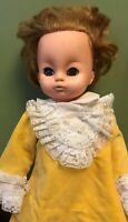 Uneeda Vintage Doll with yellow velvet dress strawberry blonde hair blue eyes