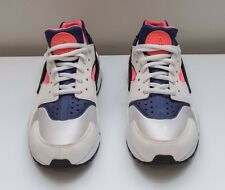 2015 NIKE WOMEN AIR HUARACHE WHITE/HOT LAVA/BLUE 634835-103 US Wmn 9