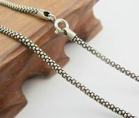 "Solid 925 Sterling Silver Necklace 3mm Popcorn Link Chain 20"" - 30"" Stamped S925"