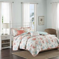 Coral & Teal Seashells Starfish Beach House 6Pc King Quilt Shams & Toss Pillows