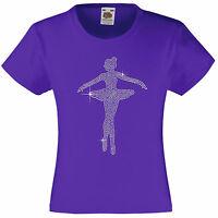 Ballerina Dancer Rhinestone / Diamanté Embellished T Shirt Gift  for Girls