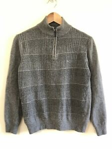 """Pal Zileri """"Concept"""" Grey Zip Neck Jumper Wool Cashmere - Small - Made in Italy"""