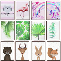 Cartoon Animal Plant Canvas Poster Nordic Art Prints Baby Kids Room Wall Decor