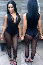 Abito tuta aperto Nudo aderente Trasparente Sheer Jumpsuit Bodysuit Clubwear