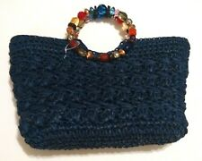 Womens Summer Bag Blue Miami NWOT Navy Blue Zippered Colorful Beaded Handle