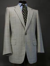 WILLIAM YU Bespoke Cashmere Sport Coat 44 L, Beige Plaid 2 Button. Sulka Tie