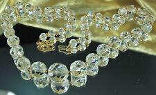 DECO ROCK CRYSTAL Necklace QUARTZ Gemstone 14K GF 1930s CZECH On Period Chain