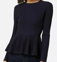 Ted Baker Women Stitch Detail Peplum Winter Sweater Jumper Dark Blue RRP£119