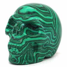 "Skull Figurine Green Taiwan Turquois Stone Carved Crystal Reki Healing Decor1.9"""