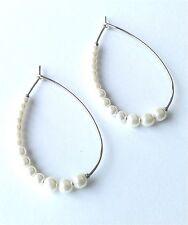 Pearl Oval Hoop Earrings