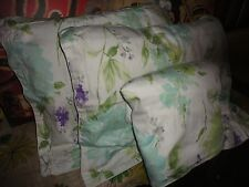 RAYMOND WAITES WATERCOLOR PURPLE TEAL GREEN FLORAL (3PC) FULL DUVET COVER, SHAMS