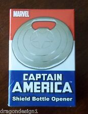 CAPTAIN AMERICA SHIELD BOTTLE OPENER. NEW IN BOX. 3 INCHES ACROSS