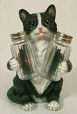 BLACK & WHITE CAT SALT & PEPPER SHAKER HOLDER Polyresin NEW Dining Kitchen LE