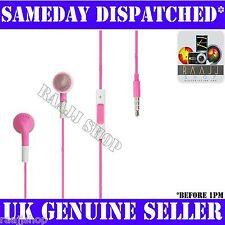 Pink Headphones Earphones Handsfree + Volume + Mic For iPhone 4 4S 3GS iPad 2