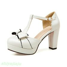 Womens Sweet Bowknot Mary Jane Lolita Block High Heels Cosplay Shoes Plus Size