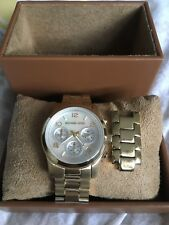 NEW Michael Kors Womens Mother Of Pearl Dial Gold-Tone Round Watch 30mm MK3055