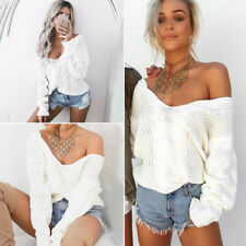 Womens Off The Shoulder Chunky Knitted Oversized Baggy Sweater Jumper Top UK