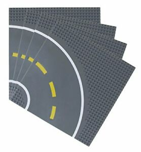 """Strictly Briks Premium 10"""" x 10"""" Gray Curved Road Base Plate - Set of 4"""