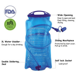 2L Hydration System Bladder Backpack Camping Cycling Universal Drinking Bag QN