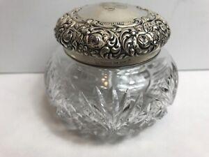 Vintage Art Nouveau Sterling Silver & Cut Crystal Vanity Powder Jar