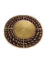 """Pillar Candle Holder Brass & Amber Bead Plate 6"""" Diameter"""