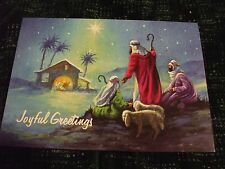 6 religous Christmas cards Shepherds approaching manger