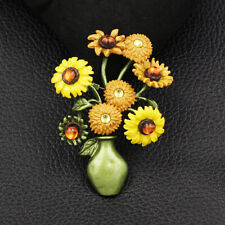 Women's Enamel Resin Vase Sunflower Charm Betsey Johnson Brooch Pin Jewelry Gift