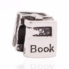 Silver book charm gift bracelet European PD slide uni student teacher bookworm