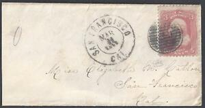 US 1860 GRILL IN CIRCLE FANCY CANCEL SAN FRANCISCO DOUBLE RING TYING Sc 65 ON SM