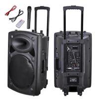 "1500W 15"" Portable Remote Audio PA Speaker w/ Bluetooth USB Wireless microphone"