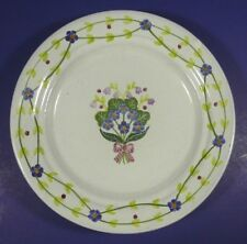 """Vintage Porta MM Portugal Redware 8 1/8"""" Plate Forget Me Not Lily of the Valley"""