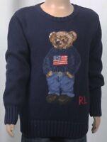 Ralph Lauren Navy Blue Cotton Crew Neck Childrens Teddy Bear Sweater NWT $145